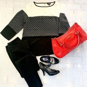 The Limited black and cream color block top